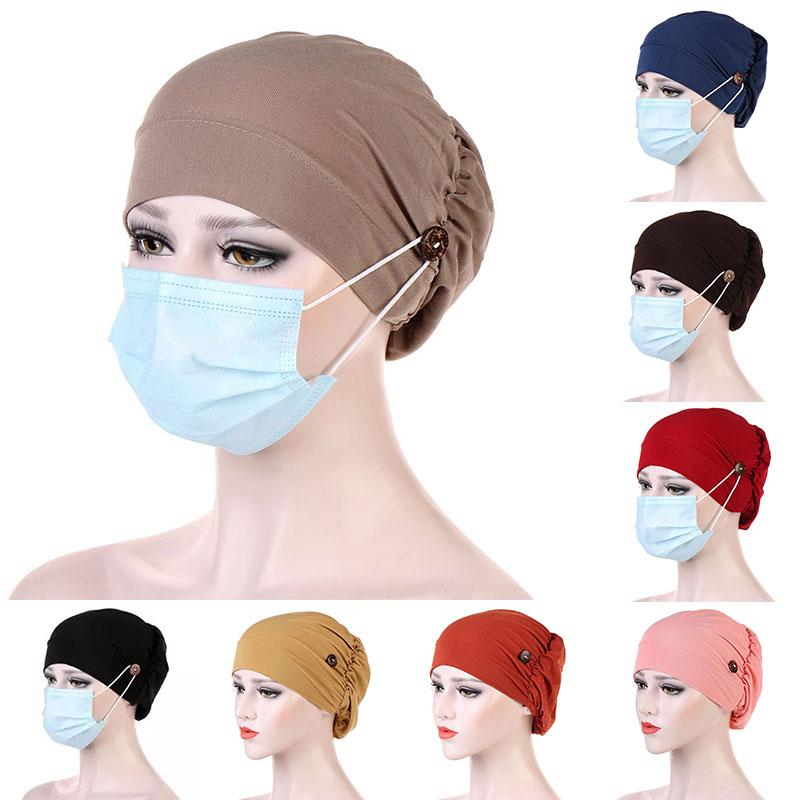 Casual Women Turban Head Wrap Hat With Button Headwear Headscarf Bonnet Inner Hijabs Cap Muslim Hija