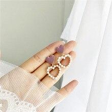 Creux amour perle boucles doreilles pour les femmes doux tempérament goutte Nectarine coeur boucles doreilles oreille Clip