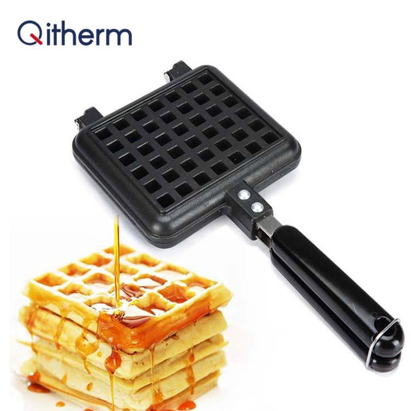 Qitherm Non-Stick Waffles Maker Mold Portable Iron Machine Household Kitchen Gas Pan Bubble Egg Cake Oven Breakfast Machine