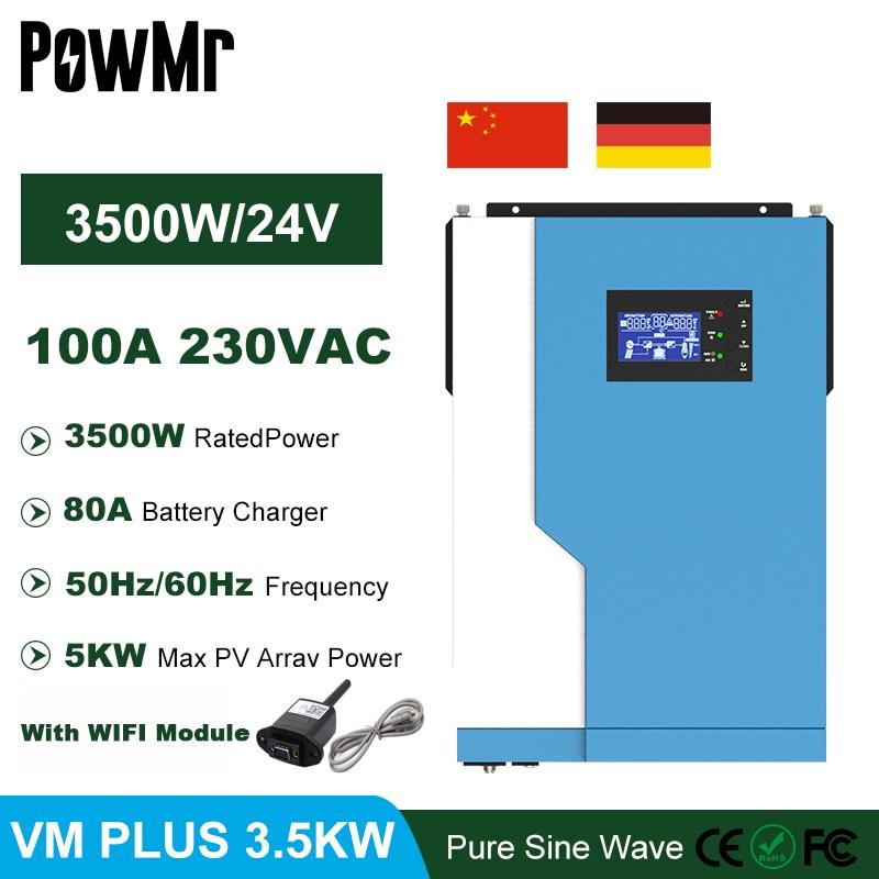 PowMr MPPT 100A 3500 واط 24VDC الهجين العاكس 230VAC 50 هرتز/60 هرتز خارج الشبكة شاحن بالطاقة الشمسية يمكن أن تعمل دون بطارية ودعم واي فاي