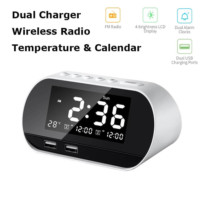 Светодиодный Будильник цифровые повтора настольные часы электронные температуры и календарь дисплей украшение для дома часы AM/FM радио