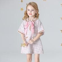 Ropa de verano para niñas, vestido de princesa con lazo de nuevo estilo, bonito vestido de fiesta de cumpleaños de estilo europeo y americano, vestido de Graduación
