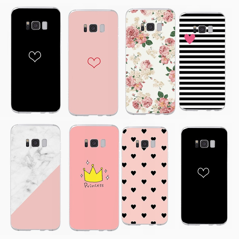 Cartoon Heart Cover For Samsung Galaxy S7 Edge S8 S9 S10 Plus A5 J5 2017 Soft TPU Silicone Cases For