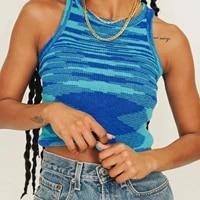 2021 knit crop top women sleeveless y2k basic t shirts casual summer off shoulder blue o neck tank top vintage fashion