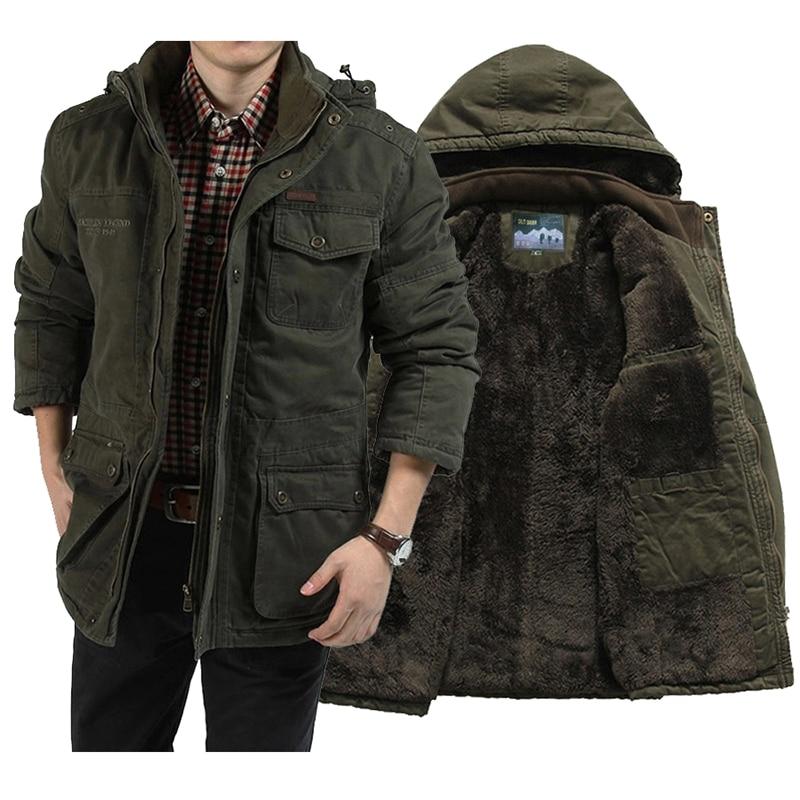 Winter Jacket Men Super Thick Faux Fur Parkas 100% Pure Cotton Fleece Warm Male Jackets Hooded Windbreakers Multi Pockets 5XL
