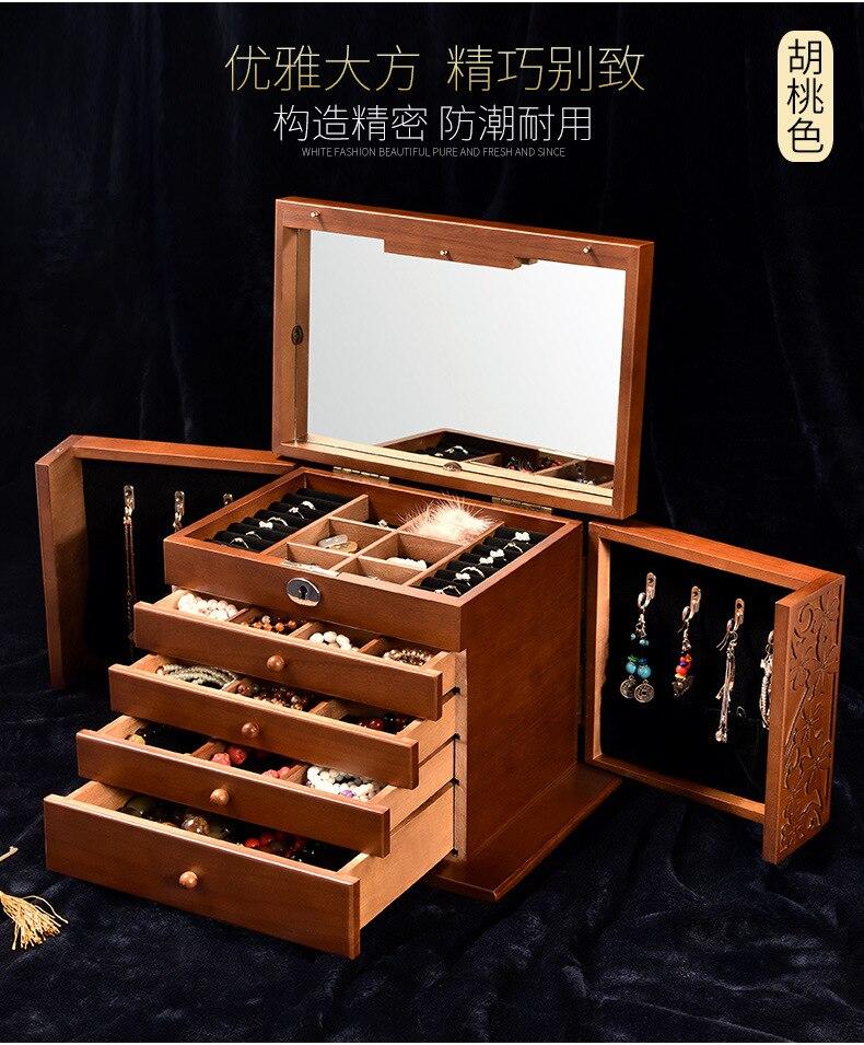 صندوق تخزين مجوهرات بباب مزدوج للنساء ، 5 طبقات ، إكسسوارات خشبية ، تصميم عصري ، هدية عيد ميلاد