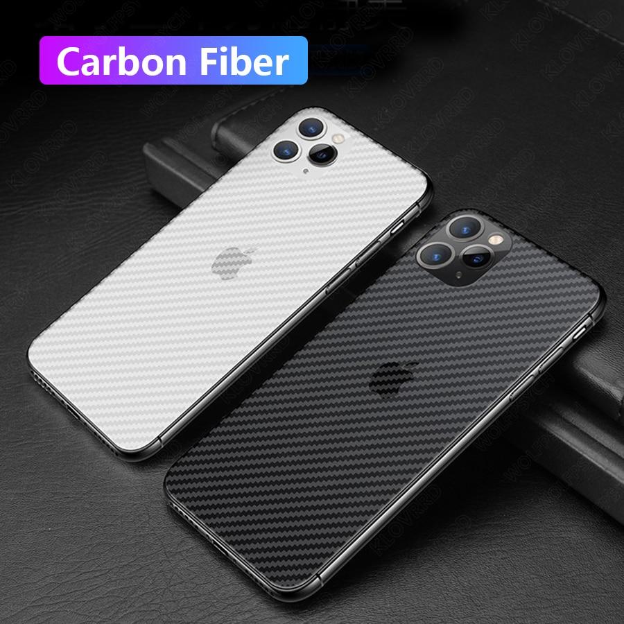 Fibra de carbono protetor de tela traseira para iphone 11 pro max xs max xr se 2020 adesivo filme capa completa para iphone x 7 8 9 6 s plus