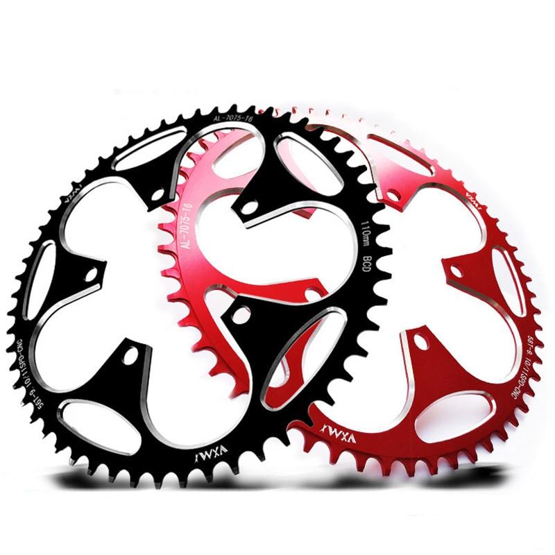Rueda de cadena de bicicleta estándar 110BCD forma redonda, Piñón de manivela ancho estrecho 50T/52T/54T/56T/58T, rueda de cadena de velocidad Variable para MTB