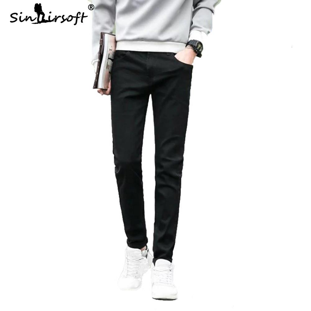 Autumn New Pure Black Cowboy Jeans Mens Winter Denim Straight Full Length Pants Slim Fit Mens 2019 Fashion Pencil Trousers Hot