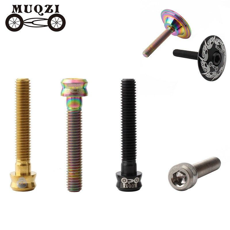 MUQZI Bicycle Headset Cap Screw M6x30/35 Titanium Alloy Stem Top Cap Bolt Mtb Road Fixed Gear Bike Accessories