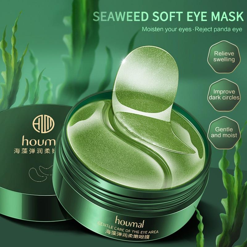 24K Gold Moisturizing Eye Mask Patch 60pcs Seaweed Crystal Collagen Anti-Aging Remove Dark Circles Eyes Care Korean Cosmetics