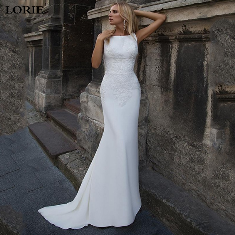 LORIE Mermaid Wedding Dresses 2020 Soft Satin Appliques Lace Beach Bride Dress Sexy Back Gown Hot Sale