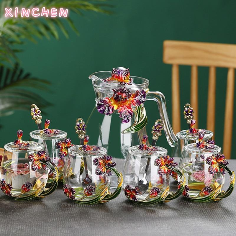 الإبداعية المينا الملونة مج مياه مع شاي بالأعشاب المزهرة القدح المنزلية شفافة الكريستال والزجاج خالية من الرصاص فنجان شاي ساخن الراقية هدية