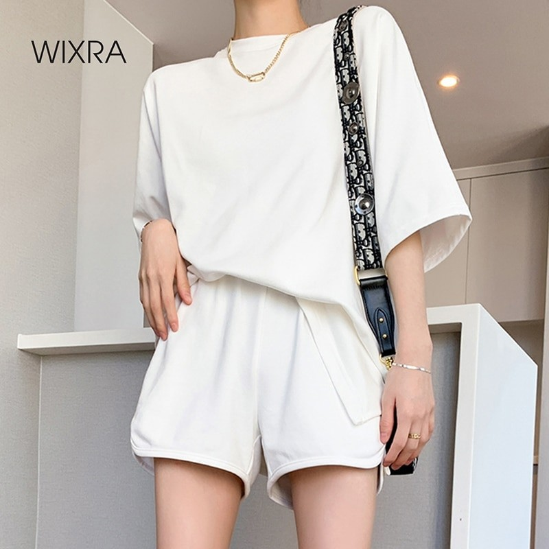 Wixra إمرأة الأساسية القطن تي شيرت مجموعات الصيف س الرقبة المحملة مرونة الخصر السراويل الدعاوى سميكة غير رسمية الشارع ارتداء