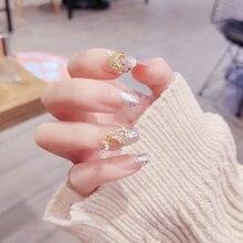 24 uds/en caja predecorada prensa falsa en las uñas con diseñado con perla de imitación y taladros brillo largo medio puntas de uñas artificiales