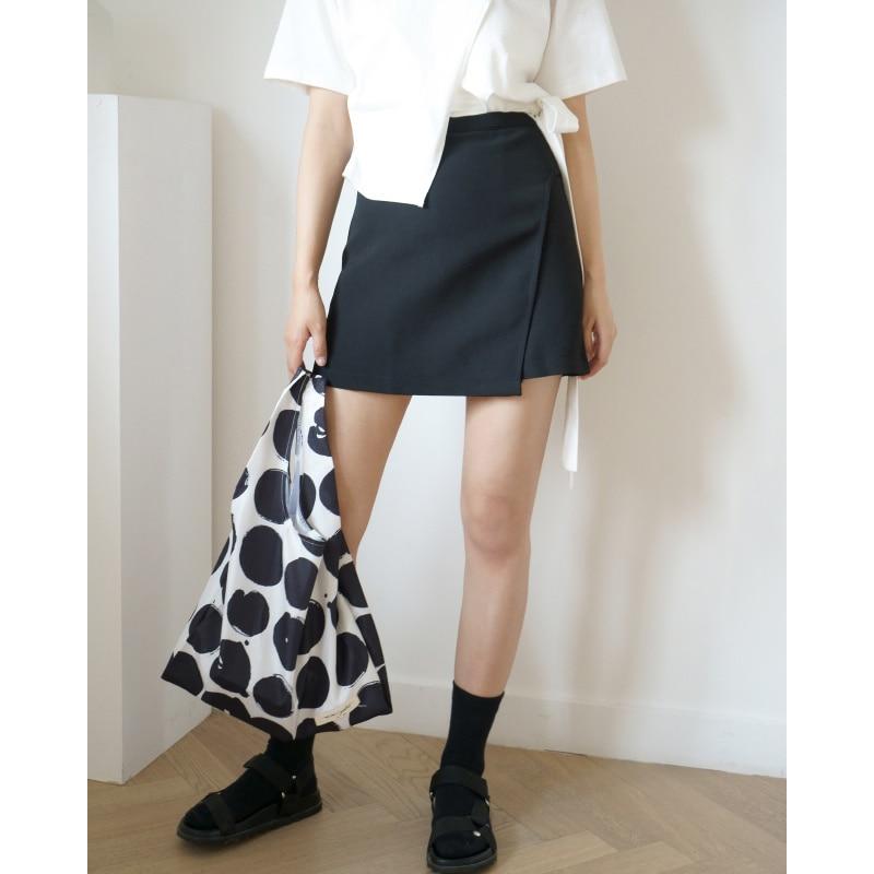 Oyanxi Summer and Korean Version Irregular Solid Color Anti Tarnish Skirt High Waist Slim A-shaped S