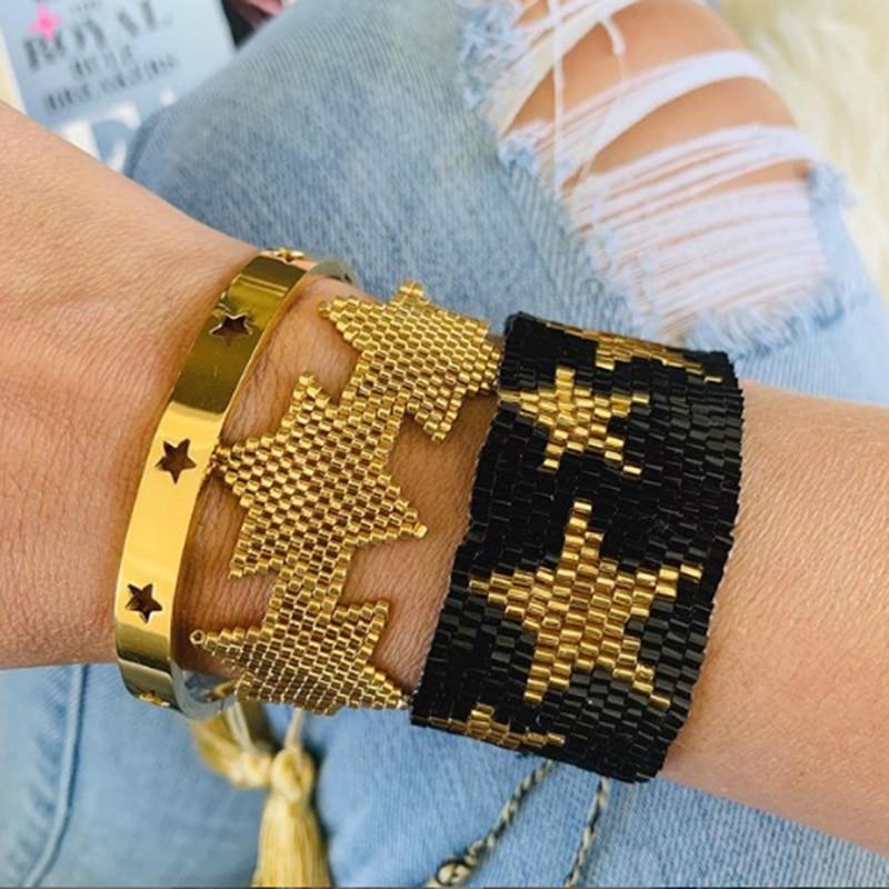 Rttooas Fashion Gold Star MIYUKI Bracelet For Women Handmade Loom Beads Charm Bracelets Armband 2020 Female Tassel Jewerly