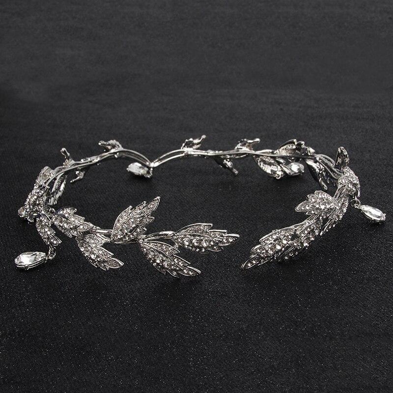 Moda Rhinestone mujeres Boda nupcial frente cadena tocado cristal colgante novia Tiara de joyería para el pelo accesorio