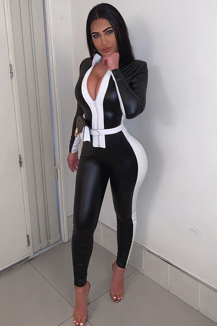 بوجسوت بأكمام طويلة بسحاب تصميم للسيدات لباس غير رسمي مثير فو الجلود بذلة الجوارب أسود كامل الجسم نحيل السروال القصير