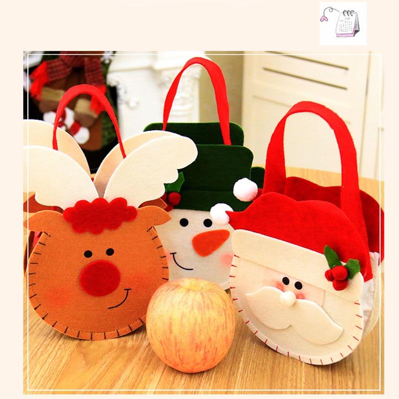 Christmas Cookie Candy Bag Christmas Candy Holder Treat Bag Xmas Santa Snowman Elk Kids Gift Handbag New Year Decoration 18x15cm