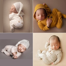 Newborn Photography Costume Props Romper Soft Elastic Long Hat Baby Clothes for Photo Shoot Photobooth Props Accessories