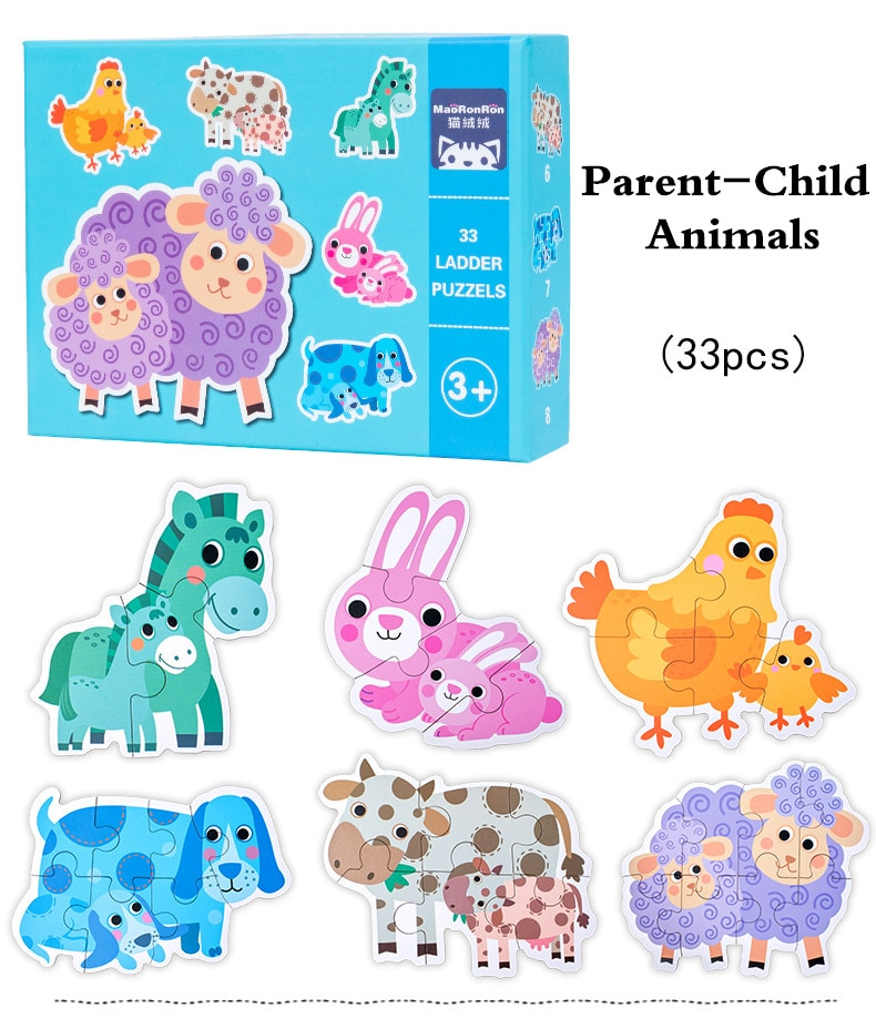 Новые детские деревянные животные, 3D головоломки Монтессори, обучающие игрушки для детей, детские геометрические головоломки, игра, игрушк...