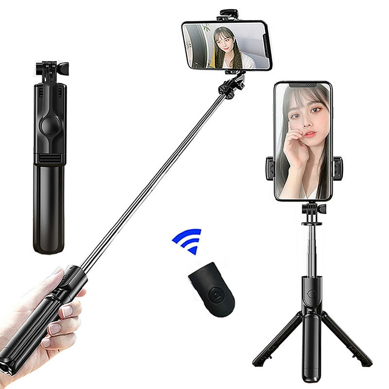 Wireless Bluetooth Selfie Stick Expandable Monopod Mini Tripod with Button Shutter for IOS/Android