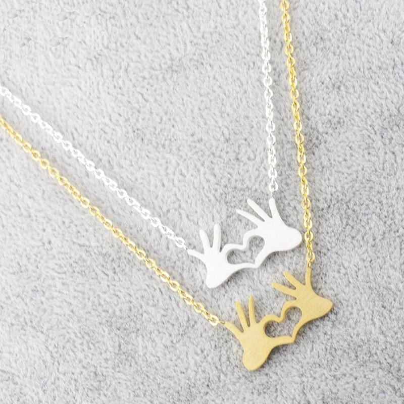 Amantes casal colares bem mão coração colar feminino valentine jóias de aço inoxidável corrente namorada presente para ela