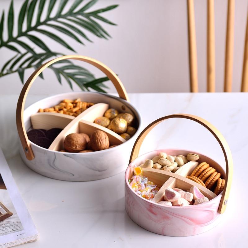 Plato de fruta, plato de estilo nórdico, moderno salón, cerámica para el hogar, creativo con mango, plato de fruta seca, plato de aperitivos
