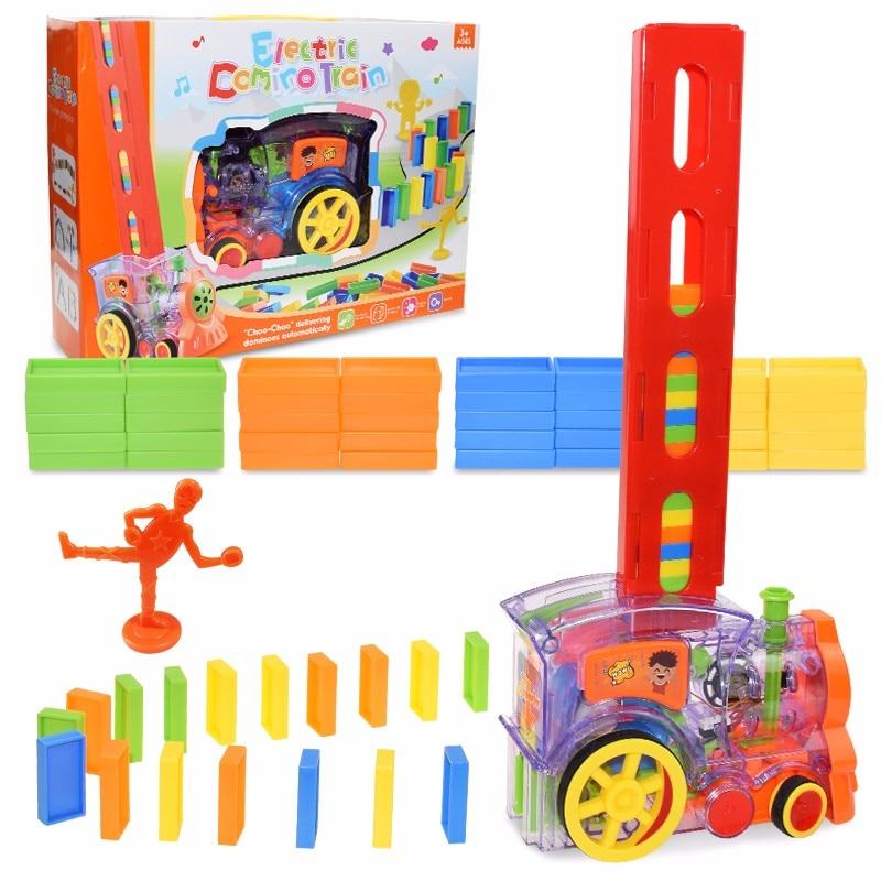 Kids Domino Train Car Set Sound Light Automatic Laying Domino Brick Colorful Dominoes Blocks Game Ed