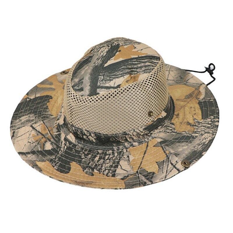 Outdoor Fishing Hat Mesh Bucket Pesca Cap Breathable Summer Camping Hiking Boonie Cap Wide Brim Sunshade Beach Cap