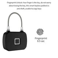 hot keyless smart fingerprint lock security smart lock anti theft security padlock door luggage case gym fingerprint lock l13