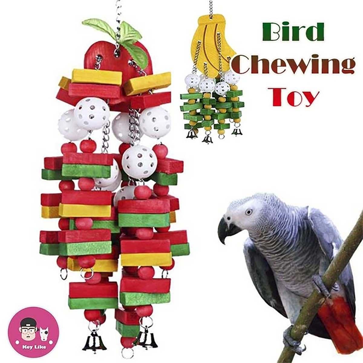 Bird Toys Chewing Playing Toys Large Medium Pet Parrot Cockatiel Parakeet Colorful Wooden Blocks Swing Food Grade Toys