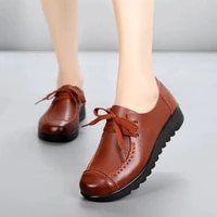 spring and autumn womens flat shoes british style leisure lace up middle aged and elderly soft soled leather shoes plush