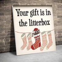 framed gifts in the litterbox christmas canvas paintings wall art prints posters pictures kids room home decor with inner frame