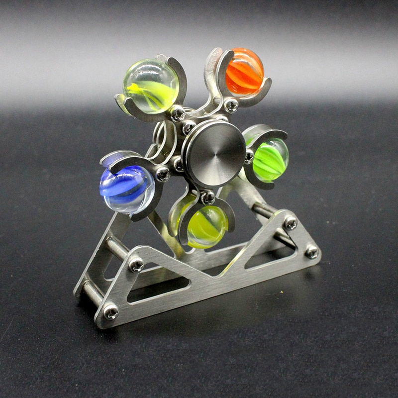 1PC Metal Five Bead Ferris Wheel Fingertip Gyroscope Stainless Steel Ball Bracket Finger Gyro Anti Stress Fidget Spinner enlarge