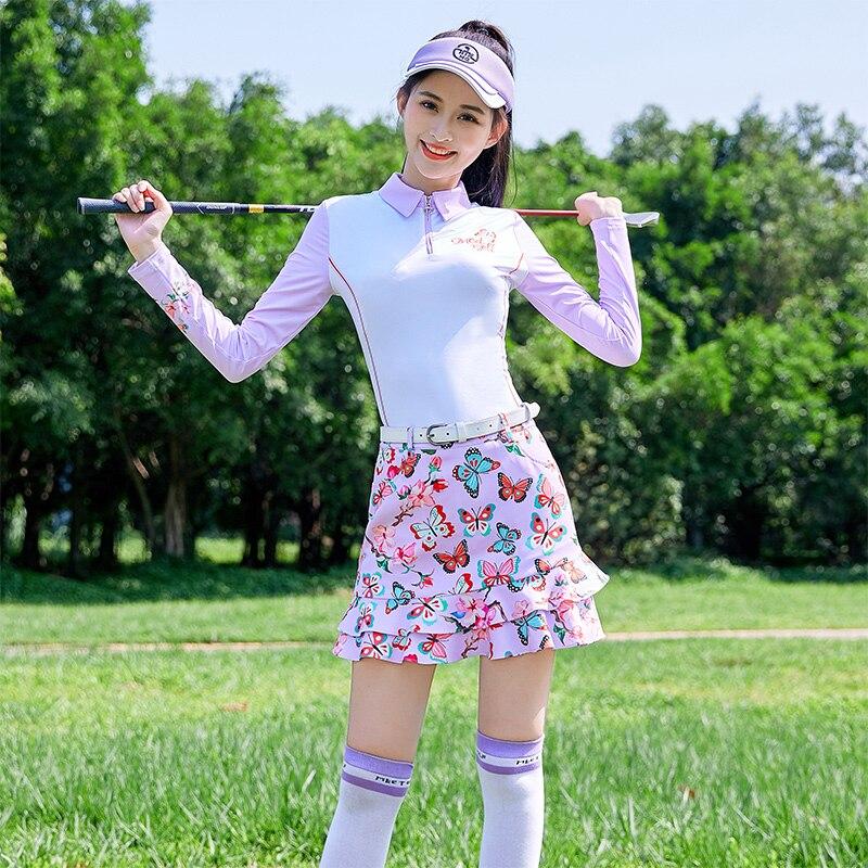 2020 Autumn New MG Golf Clothing Women Suit Long-Sleeved Shirt Lady Jacket Sports Short Pantskirt Tennis Volyeball Skirt Set