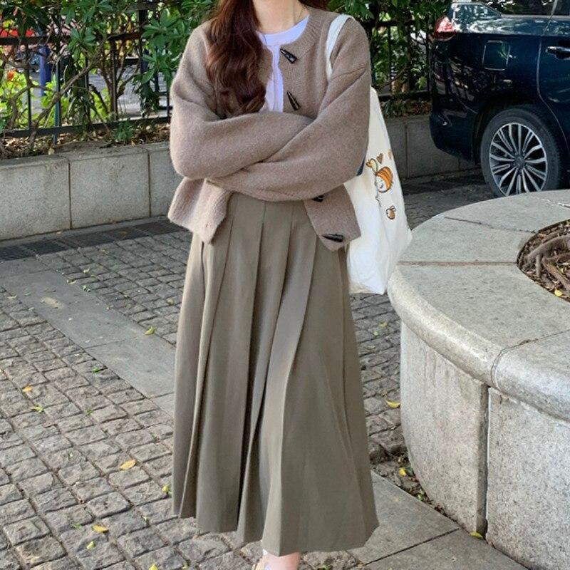 Женский костюм с юбкой, маленькое пальто, вязаный кардиган на пуговицах из быстрого рога, шикарный свитер с длинным рукавом для ранней осени...