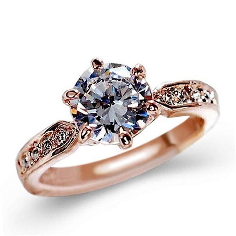 Moda de cristal anel feminino rosa ouro e cor prata encantador senhora anel de casamento nupcial jóias