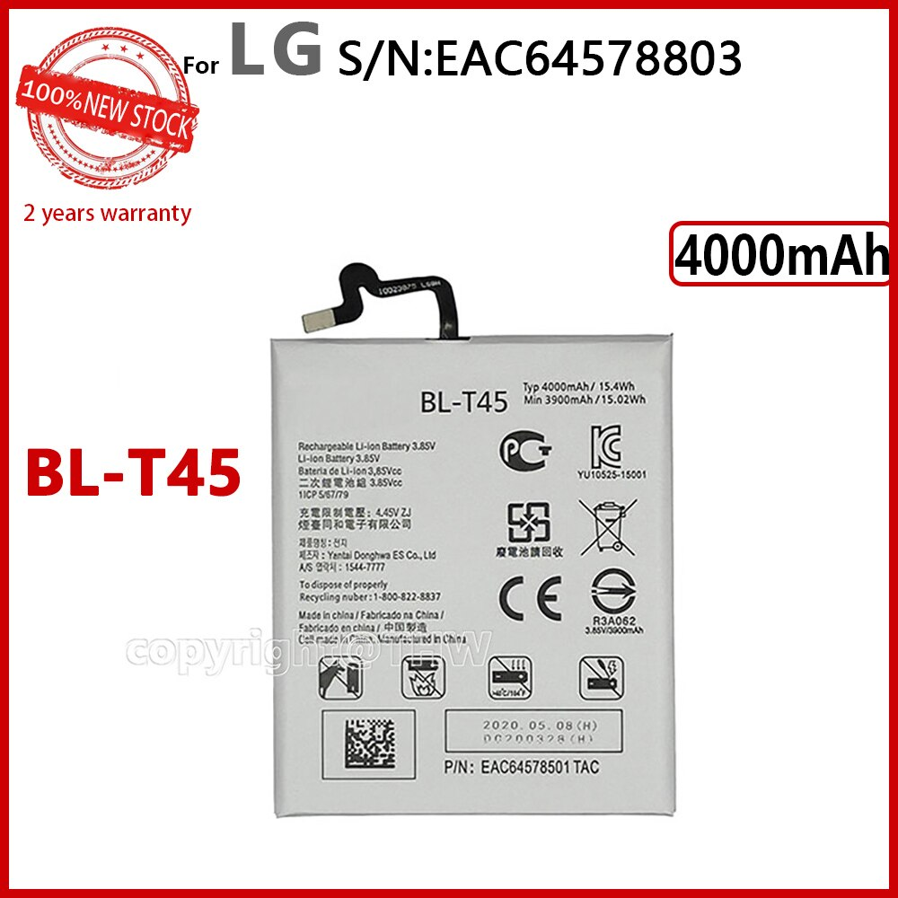 new genuine battery 4000mah for condor bt621 battery 100% Genuine BL-T45 New Battery For LG S/N:EAC64578803 4000mAh Mobile Phone Original High Quality Batteries