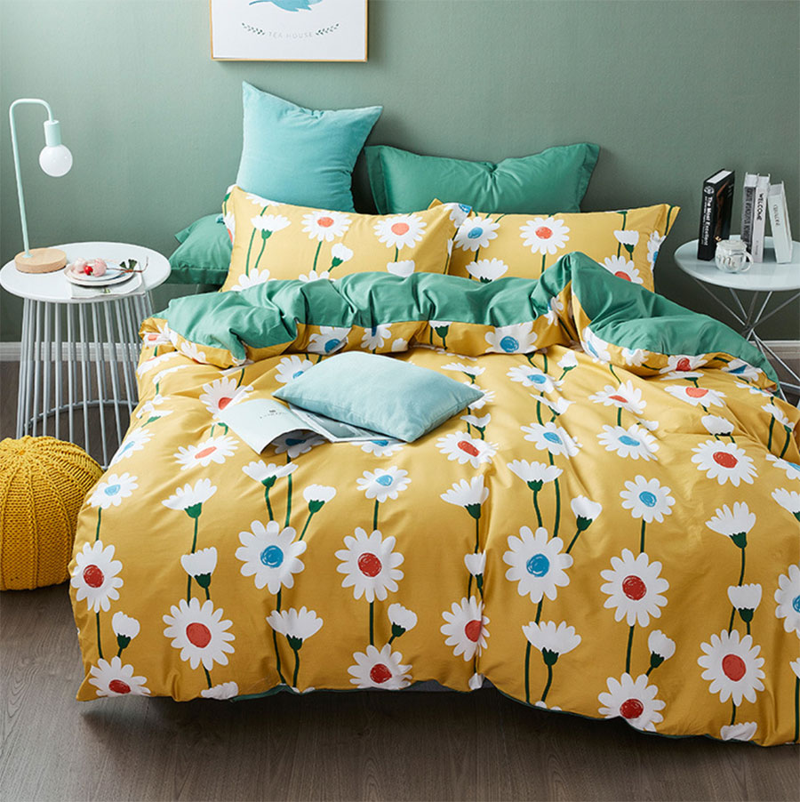 Pastoral yellow green flower bedding set teen,full queen king cotton modern double home textile bedsheet pillow case quilt cover