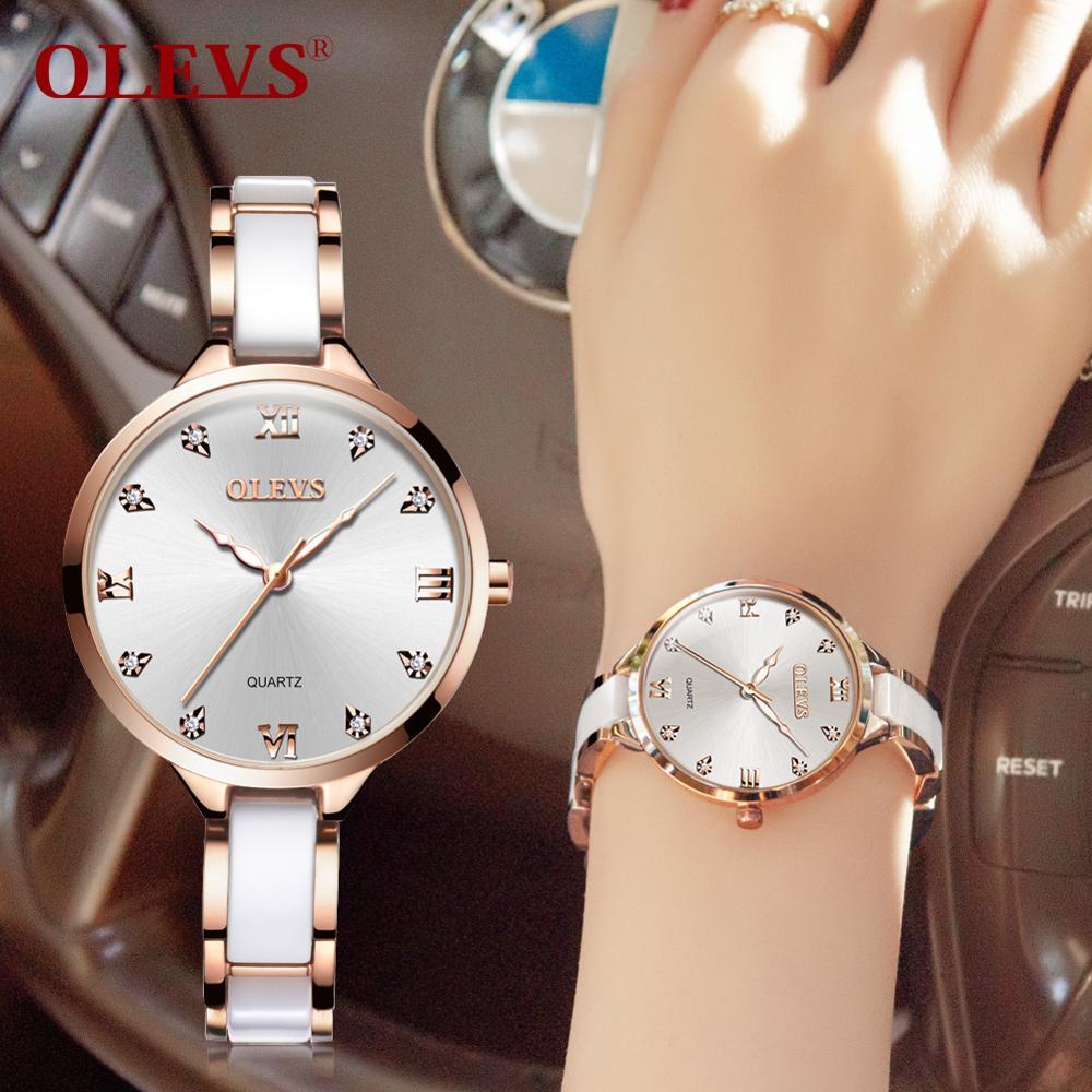 Reloj de cuarzo con correa de acero para mujer de Zegarek Damski OLEVS