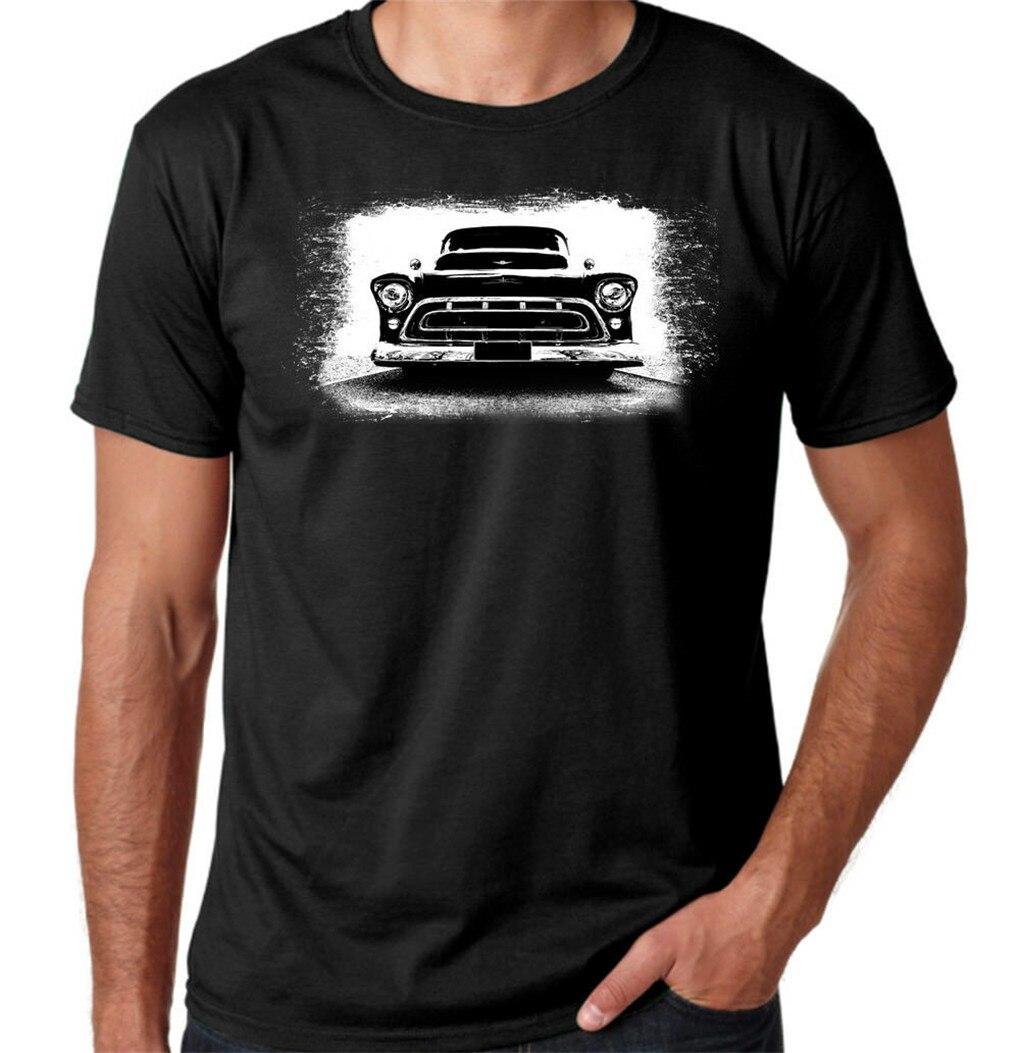 Camiseta clásica de algodón negro para hombre con cuello redondo hecha a medida de Chevrolet Truck