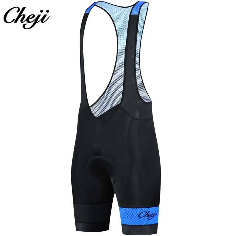 Cheji 2018 gel acolchoado men ciclismo bib shorts lycra collants qualidade superior mtb bicicleta de estrada shorts azul camisa roupas