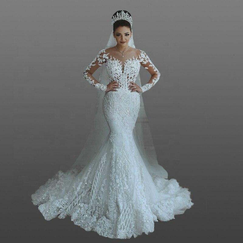 Modesto Arabia Saudí Vestido De novia De encaje De boda ilusión De...