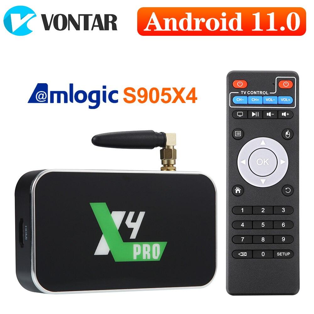 X4 برو صندوق التلفزيون أندرويد 11 مربع التلفزيون الذكية S905Y4 DDR4 4GB 32GB واي فاي 1000M BT X3 برو زائد S905X3 أندرويد 9.0 TVBOX مجموعة صندوق فوقي 4K HD