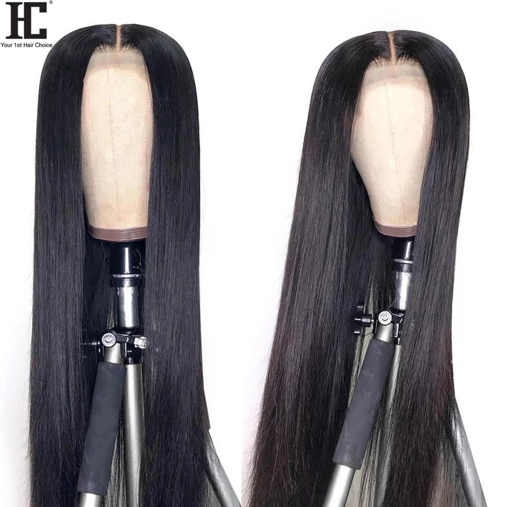 Lace Human Hair Wigs Brazilian Straight 150% 13x1 Lace Wig Pre Plucked Remy Middle Part Human Hair L