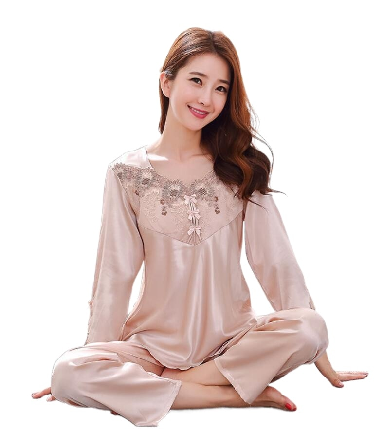 A2 الجليد بيجامة من الحرير المرأة الربيع والخريف بدلة بأكمام طويلة المطبوعة المنزل ارتداء قطعتين sleepwear791B-1