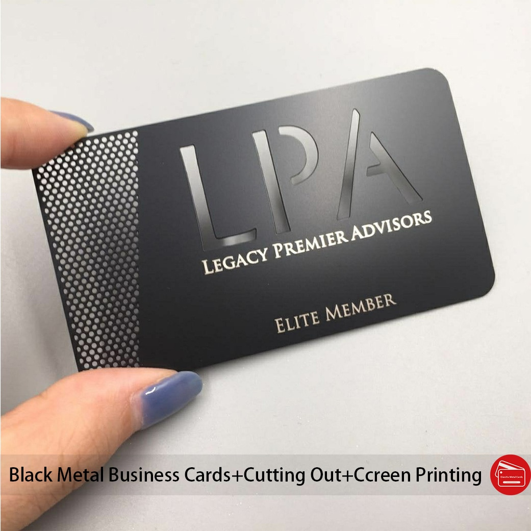 Metal business cards Matt black stainless steel business cards cutting out logo