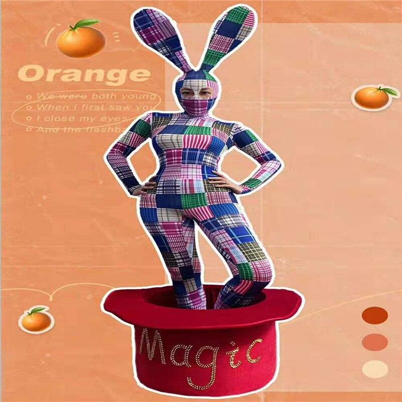 B06 Cosplay disfraz baile escenario conejo colorido impreso mono traje proom femenino Vestido de manga larga ropa disco club